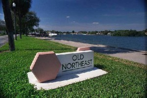 Old Northeast sign for neighborhood in St. Petersburg, FL